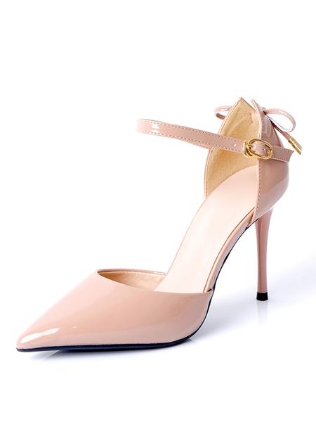 Milanoo Women's High Heels Pointed Toe Stiletto Heel Black Ankle Strap Women's Shoes