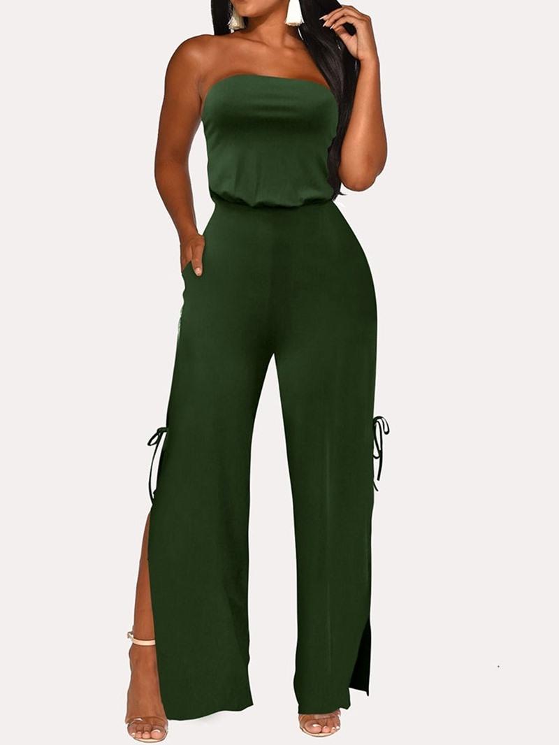 Ericdress Fashion Plain Full Length Split High Waist Jumpsuit