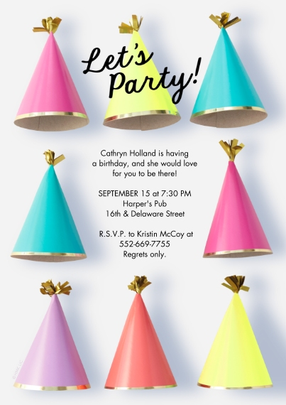 Kids Birthday Party 5x7 Cards, Premium Cardstock 120lb with Scalloped Corners, Card & Stationery -Party Hats Invitation by Hallmark