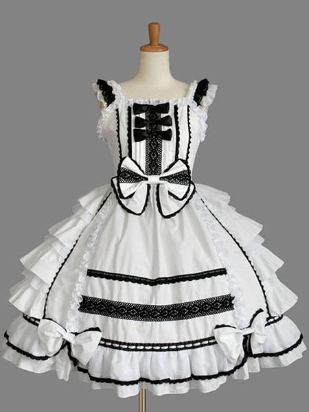 Milanoo Classic Lolita JSK Dress Ruffles White Lolita Jumper Skirts