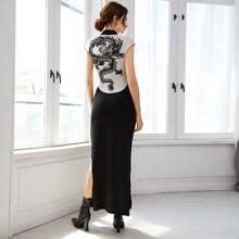 Chinese Dragon Graphic Split Thigh Qi Pao Dress