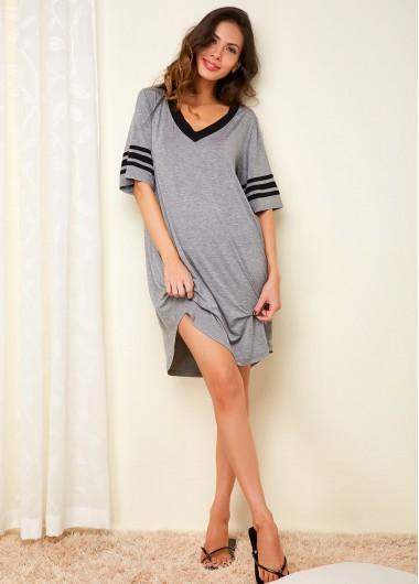 Womens Nightshirts Sleepshirts Nightgowns Half Sleeve Grey Striped V Neck Dress - 14