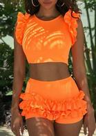 Fashion Ruffled Tankini - Orange