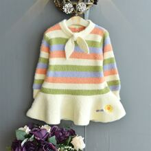 Toddler Girls Striped Floral Embroidery Fuzzy Knit Dress