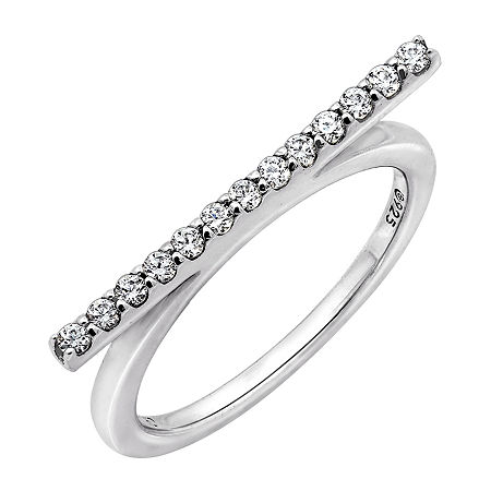 Womens 1/4 CT. T.W. Cubic Zirconia Sterling Silver Round Stackable Ring, 9 , No Color Family