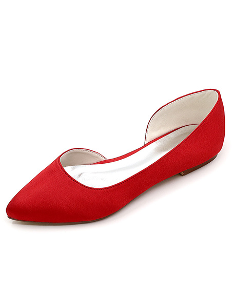 Milanoo Ivory Wedding Shoes Satin Pointed Toe Slip On Pumps Flat Mother Shoes