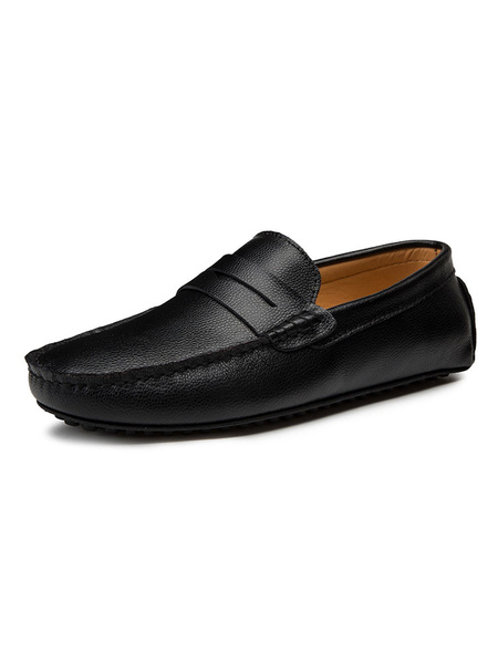 Milanoo Mens White Loafers Cowhide Round Toe Slip On Driving Shoes