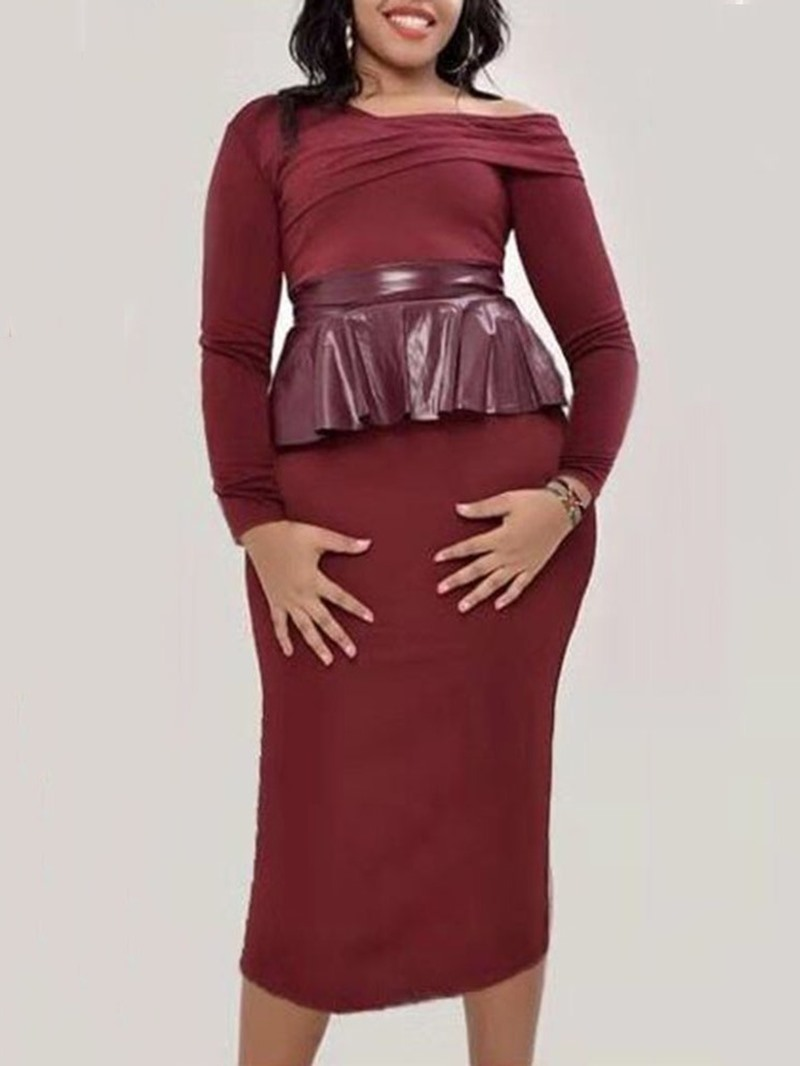 Ericdress Stringy Selvedge Mid-Calf Long Sleeve Pullover Regular Women's Dress