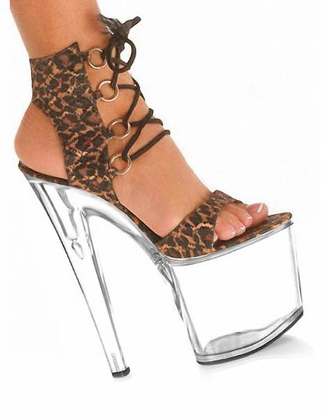 Milanoo Brown Leopard Print Open Toe Micro suede Upper Sexy Sandals