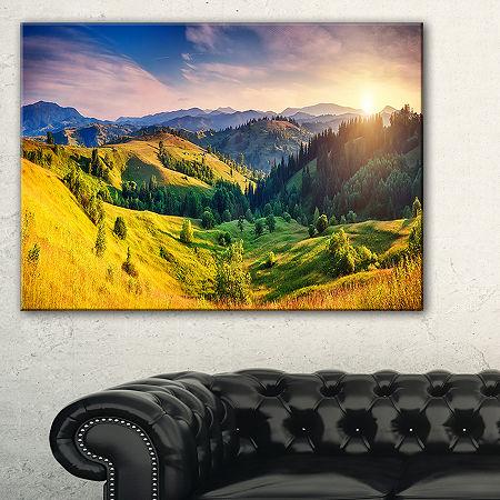 Designart Green Hills Glowing By Sunlight Canvas Art, One Size , Green