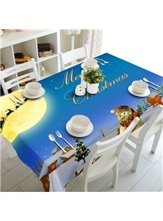 3D Snowman under Bright Moon Printed Blue Scenery Oil-Proof Square Table Cloth