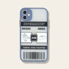 1pc Slogan Graphic Contrast Frame iPhone Case