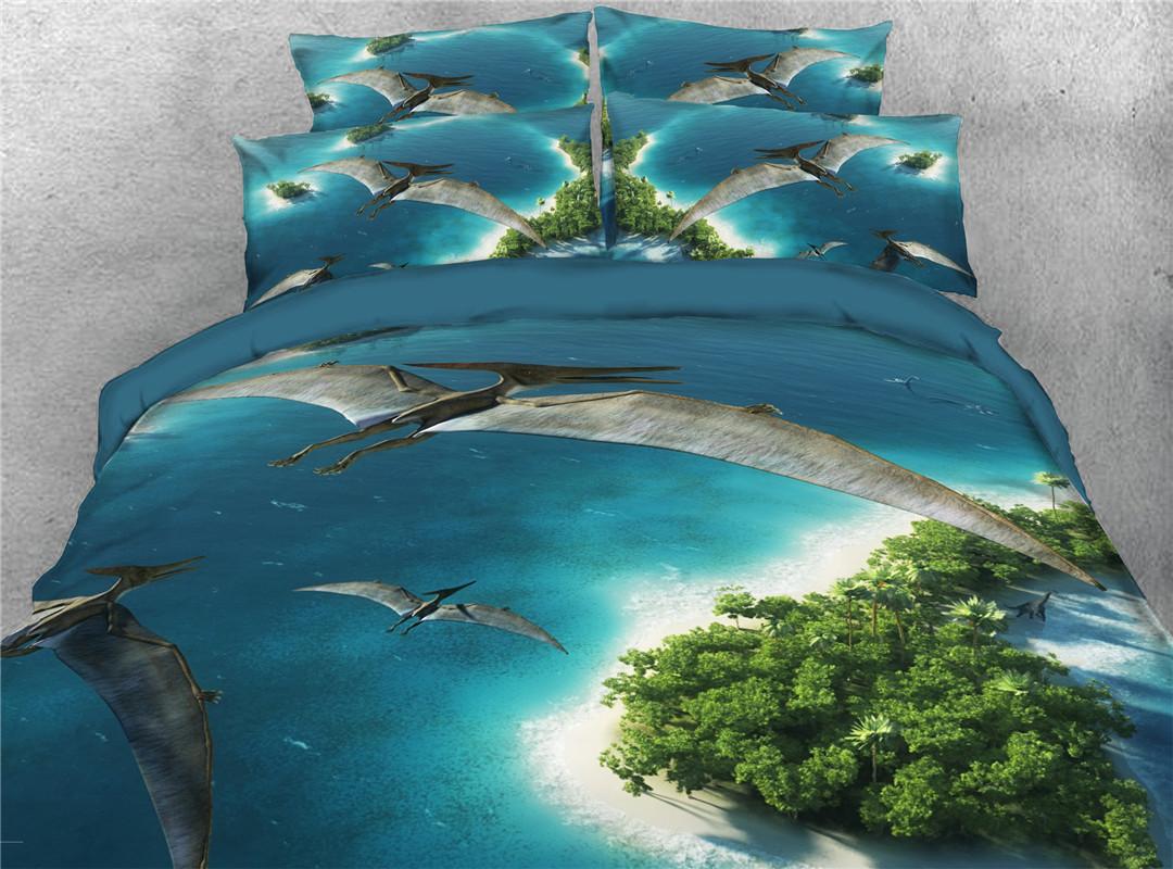 Pterosaur Duvet Cover Set Four-Piece Set Polyester Bedding Sets Endurable Skin-friendly
