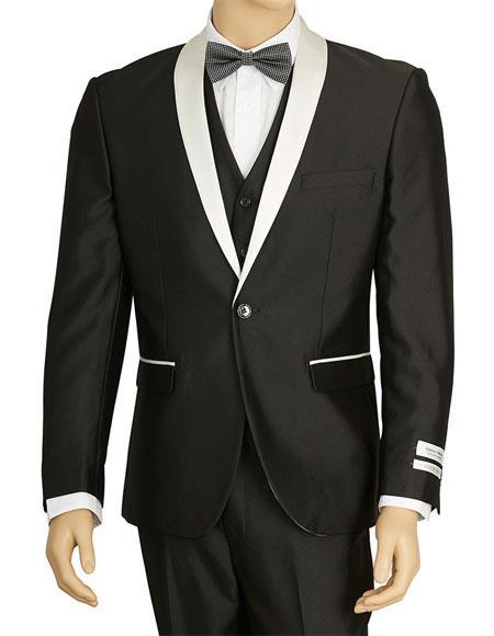 Men's Lorenzo Bruno Black Single Breasted 1 Button Shawl Lapel Suit
