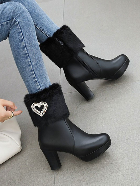 Milanoo Lolita Boots High Heel Faux Fur Heart Decor Round Toe Lolita Footwear