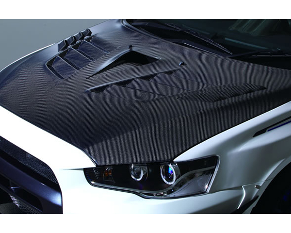 Varis VBMI-123 FRP Vented Hood Version 2 | Ultimate with Duct Mitsubishi EVO X CZ4A 08-15