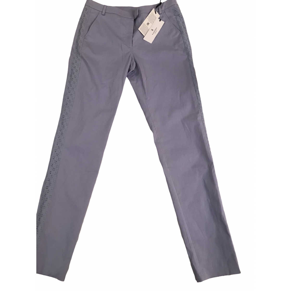 Xandres \N Purple Cotton Trousers for Women 40 FR