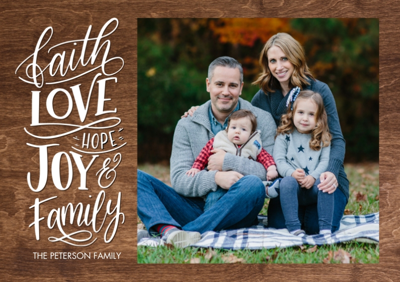 Christmas Photo Cards 5x7 Cards, Premium Cardstock 120lb with Rounded Corners, Card & Stationery -Christmas Faith Love Hope by Tumbalina