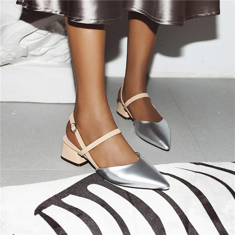 Ericdress Slip-On Pointed Toe Block Heel Patchwork Sandals