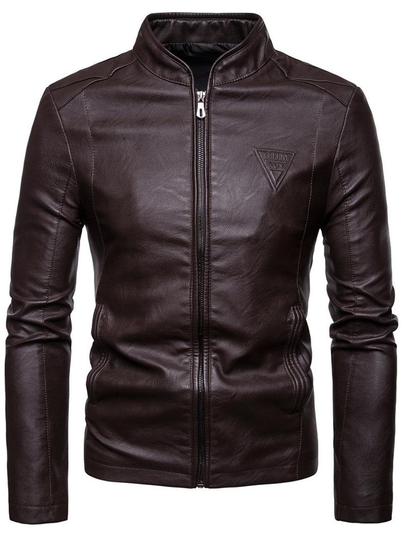 Ericdress Plain Stand Collar Zipper Casual Men's Jacket