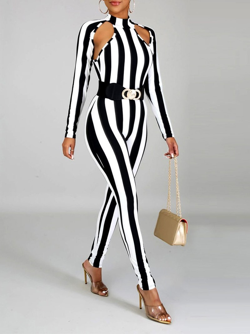 Ericdress Stripe Sexy Hollow Skinny Pencil Pants Jumpsuit