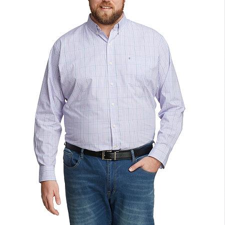 IZOD Mens Long Sleeve Button-Down Shirt - Big and Tall, 5x-large Tall , Purple