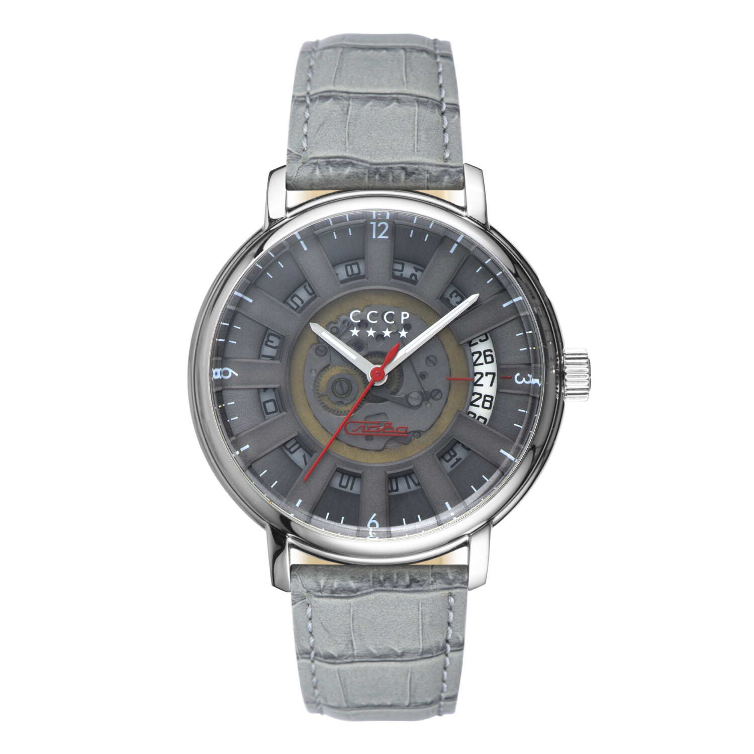 Cccp Men's Heritage - 1950S CP-7037-04 Silver Leather Automatic Self Wind Fashion Watch