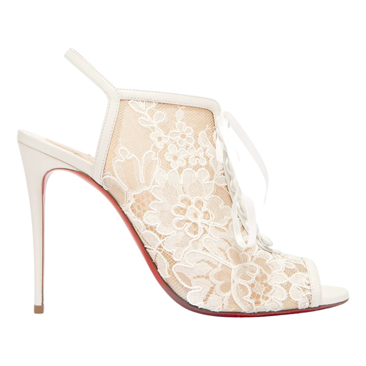 Christian Louboutin \N White Cloth Ankle boots for Women 39 EU