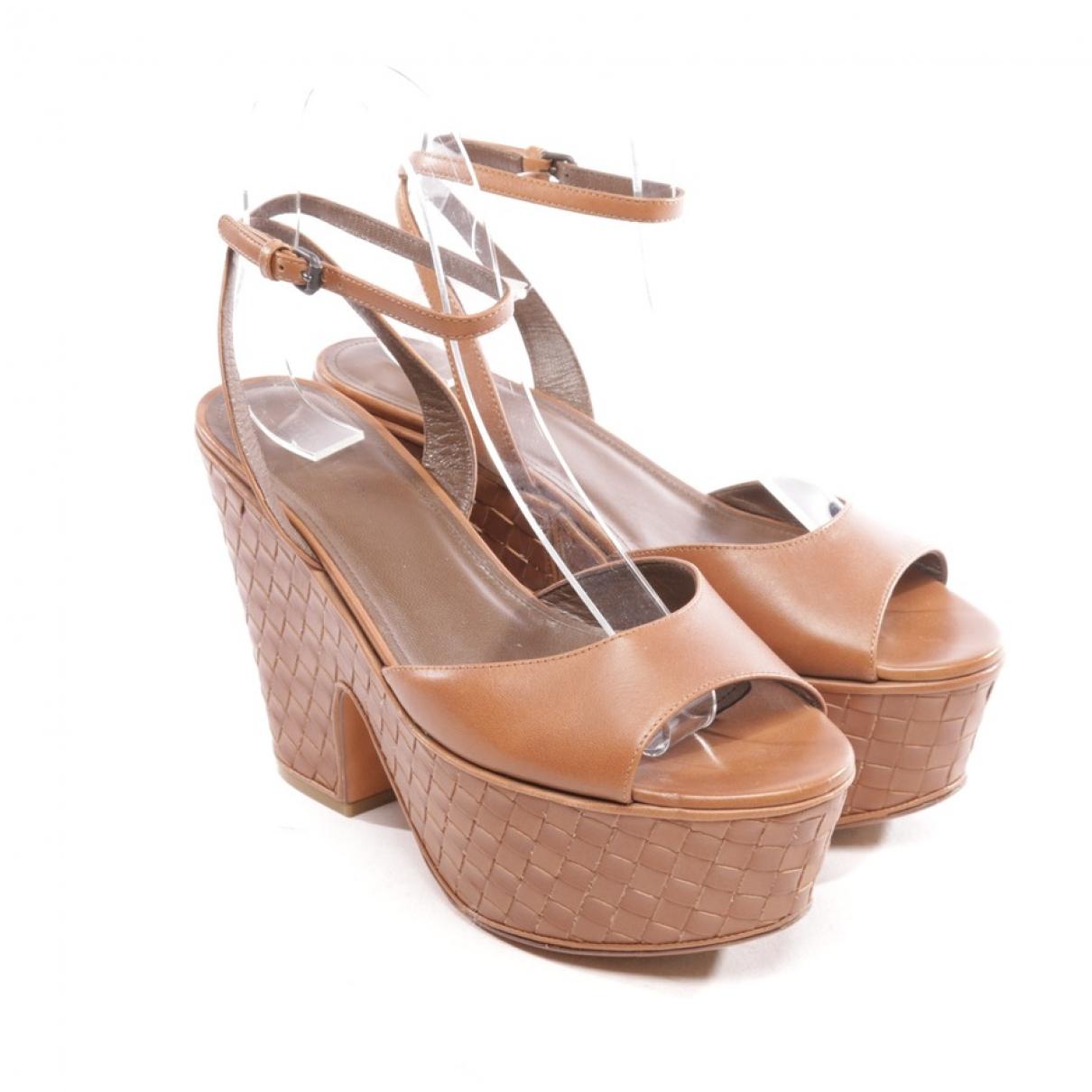 Bottega Veneta \N Brown Leather Sandals for Women 36.5 EU