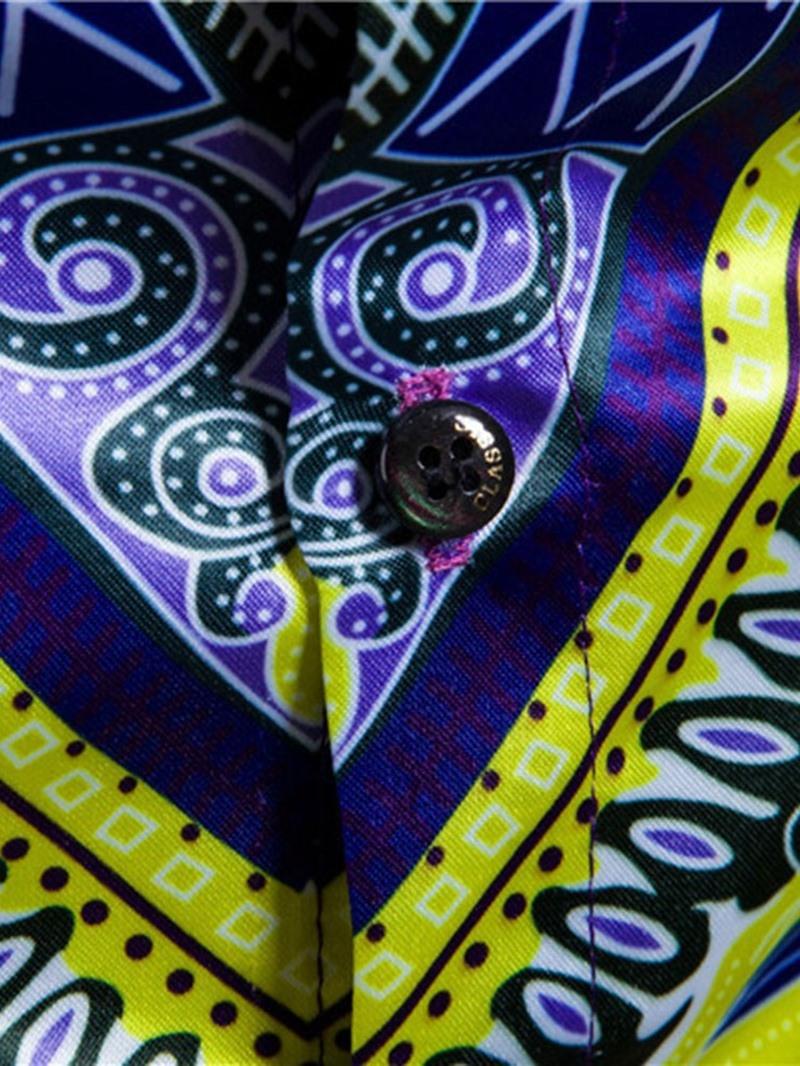 Ericdress Geometric Lapel Print Men's Spring Single-Breasted Shirt