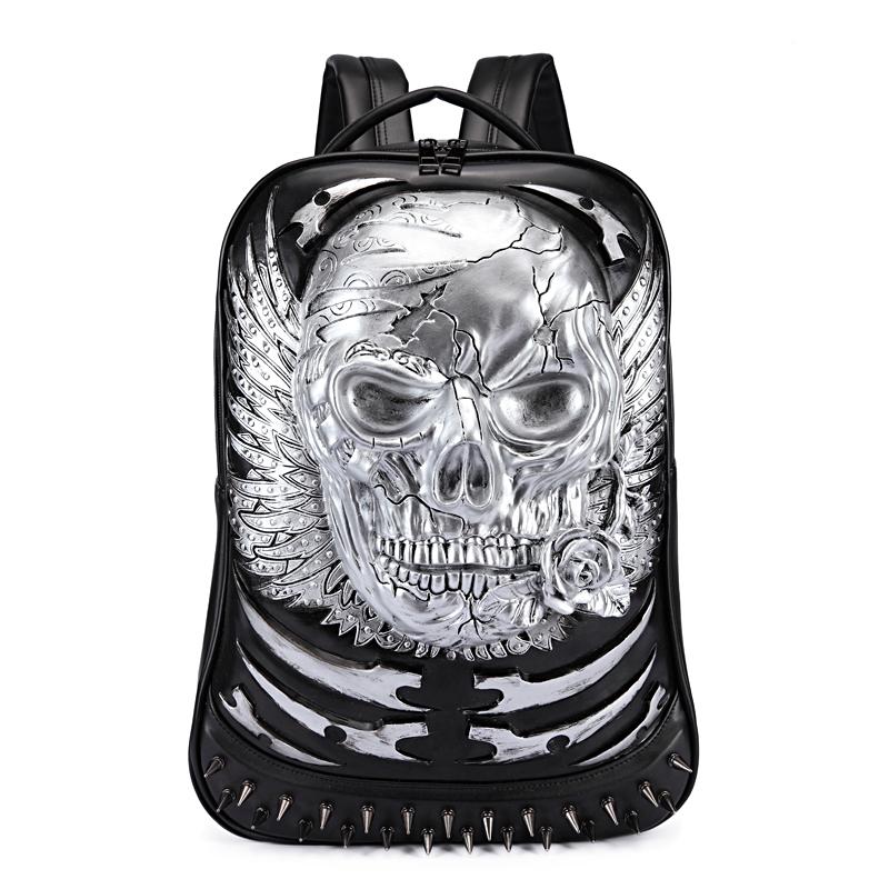 3D Skull Angel Wing Studded College Backpack PU Leather Shoulder Bag