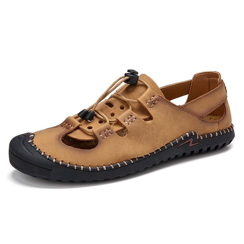 Men Soft Hand Stitching Non Slip Elastic Lace Casual Leather Sandals