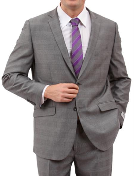 2 Button Light Grey Front Closure Suit Mens Cheap