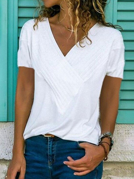 Milanoo Short Sleeves Tees V Neck Women T Shirt