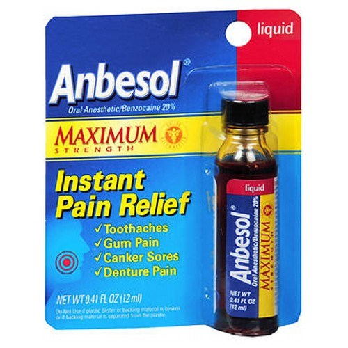 Anbesol Maximum Strength Adult Instant Toothache Pain Relief Liquid 0.41 oz by Anbesol
