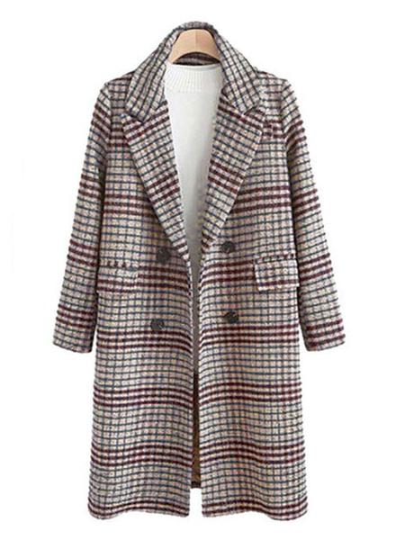 Milanoo Women Outerwear Plaid Turndown Collar Pockets Coffee Brown Woolen Coat