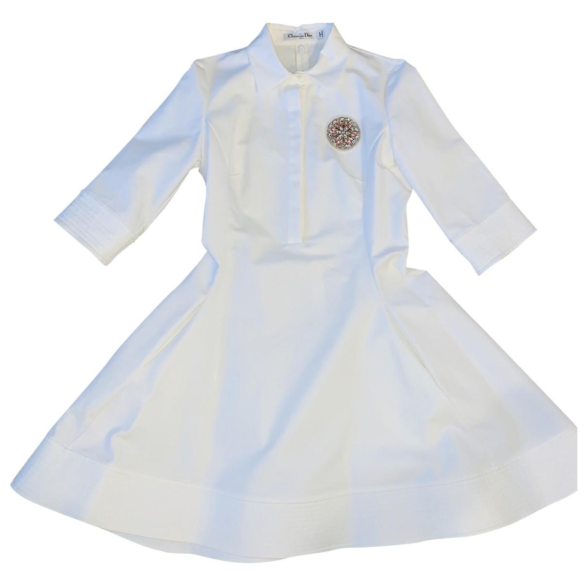 Dior \N White Cotton - elasthane dress for Women 36 FR