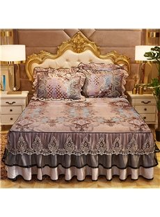 Luxurious Vintage Style Velvet Warm Winter Floral Bed Skirt Elastic Belt Design Bedskirt