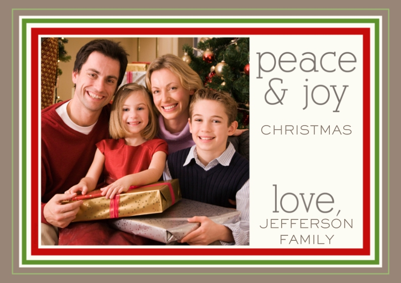 Holiday Photo Cards 5x7 Cards, Premium Cardstock 120lb, Card & Stationery -peace & joy