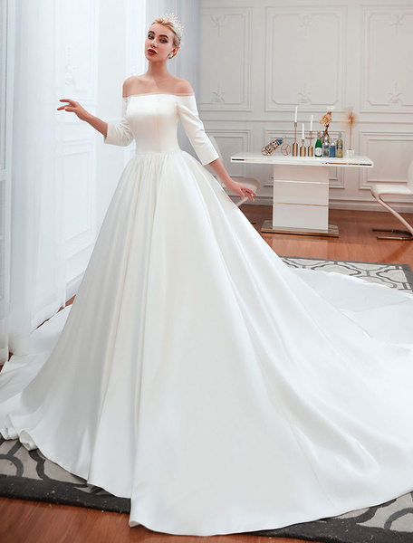 Milanoo Vintage Wedding Dress 2020 Satin 3/4 Sleeve Off The Shoulder Floor Length Bridal Gowns With Chapel Train
