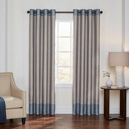Eclipse Monty Color Block Energy Saving 100% Blackout Grommet-Top Single Curtain Panel, One Size , Beige