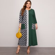 Plus Contrast Lace Double Pocket Spliced Dress