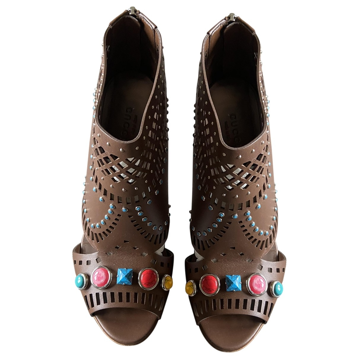 Gucci \N Brown Leather Ankle boots for Women 39.5 IT