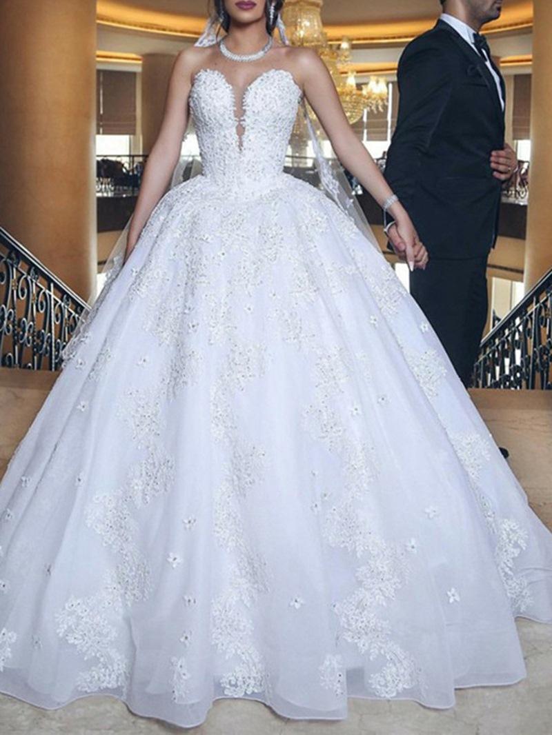 Ericdress Sweetheart Appliques Beading Church Wedding Dress