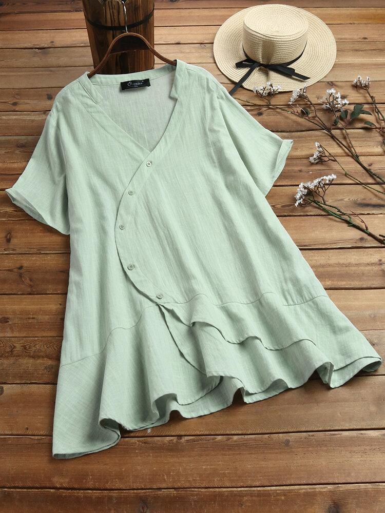 Ruffled Irregular V-neck Short Sleeve Plus Size Shirt