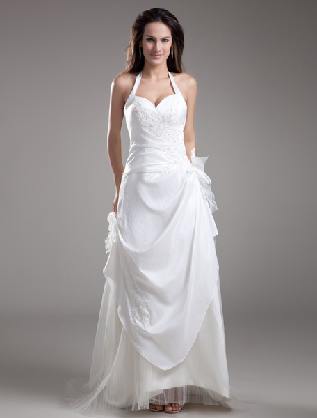 Milanoo White A-line Halter Bow Embroidered Taffeta Bridal Wedding Dress