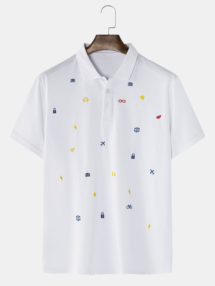 Mens Cotton Small Pattern Embroidered Plain Short Sleeve Golf Shirts In White