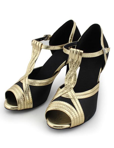 Milanoo Professional Mary Jane Peep Toe Silk And Satin Latin Dance Shoes