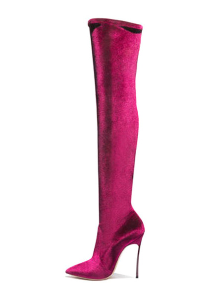 Milanoo Over The Knee Boots Elastic Fabric Rose Pointed Toe Stiletto Heel Thigh High Boots