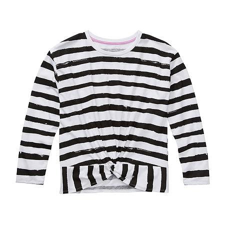 Arizona Little & Big Girls Round Neck Long Sleeve Graphic T-Shirt, 2x-large (20.5) Plus , Black